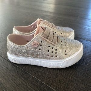 Sparkly gold blowfish water shoes